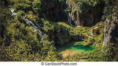 plitvice, nacional, parque, lagos, cascadas