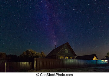 The Milky Way. A beautiful August summer night sky with...