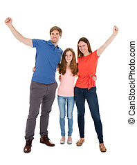Happy Family Raising Their Arms