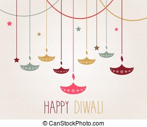 Diwali. Hanging colorful diya. Handwritten text. Vector...