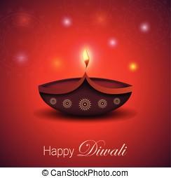 Diwali greeting card. Burning diya
