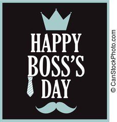 Boss Day poster on black background. Vector illustration.