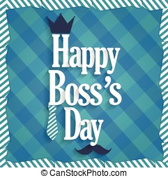 Boss Day blue poster. Cloth background. Vector illustration