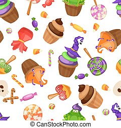 Halloween candy seamless pattern. Texture with sweets, candy corn and pumpkins on black background. Vector illustration