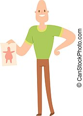 Beauty fitness man weight loss vector cartoon illustration....