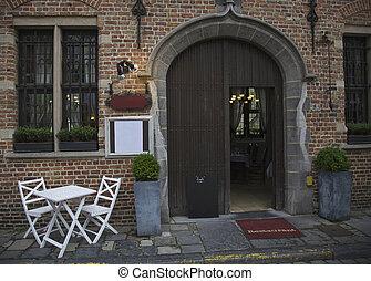Brugge, Belgium - Restaurant in city of Brugge, Belgium
