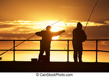 Fishing men at the beach - Fishing men at Mordialloc Beach,...