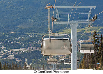 Chair lifts at Whistler Peak British Columbia - Chair lifts...