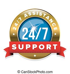 Blue 24/7 support badge with ribbon and goldl border