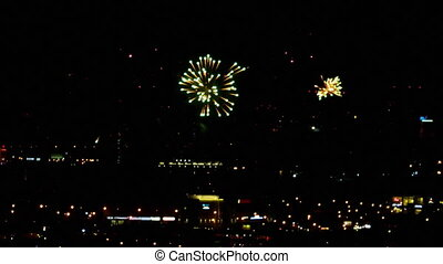 Fireworks over night city