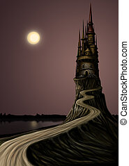 Long Tample - Night landscape High Tample and the Moon, a...