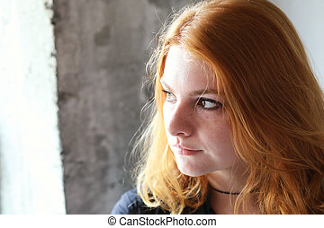 Red Haired Woman in Black Top - Photo of a very attractive...