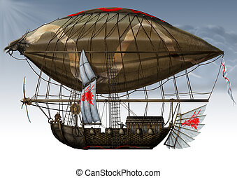 military fantastic Zeppelin. - The Side View Grunge old...