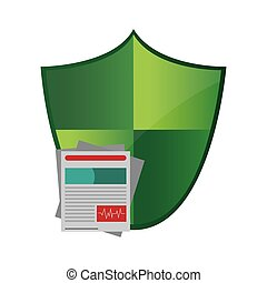 shield and medical history icon - flat design shield and...