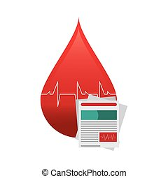 blood drop cardiogram and medical history icon - flat design...