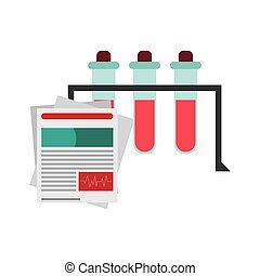 test tube and medical history icon - flat design test tube...