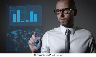 Future work with finance and macro economy. Businessman...