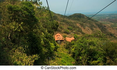 Mountain Forest Landscape Ropes from Rope-way Car - panorama...