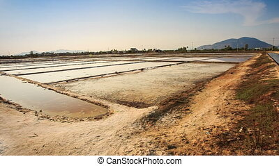 Endless Salt Lakes Heaps Canals at Production Ponds in...