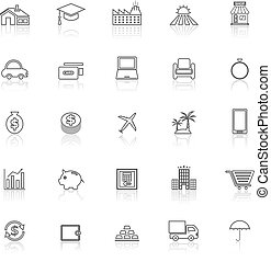 Loan line icons with reflect on white background, stock...