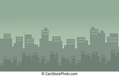Silhouete of city many building cartoon vector