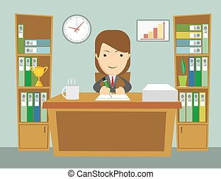 Office worker at work. Happy smiling woman sitting at the...