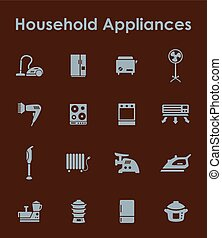 Set of household appliances simple icons