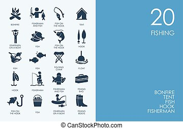 Set of BLUE HAMSTER Library fishing icons - BLUE HAMSTER...