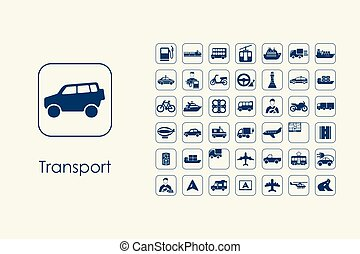 Set of transport simple icons