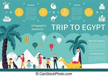 Trip To Egypt infographic flat vector illustration...