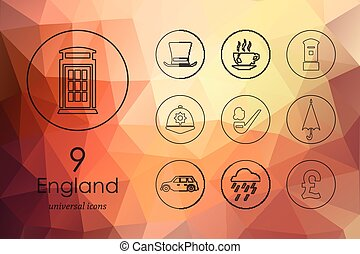 Set of England icons - England modern icons for mobile...