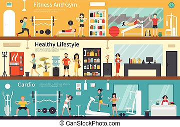 Fitness And Gym Healthy Lifestyle Cardio flat interior...