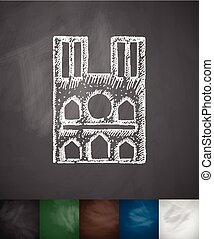 Castle icon Hand drawn vector illustration Chalkboard Design...