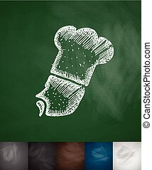 chef icon Hand drawn vector illustration Chalkboard Design