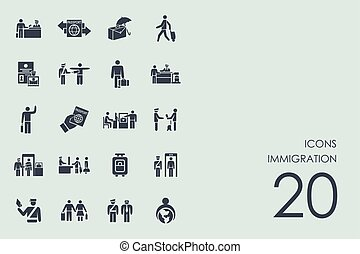 Set of immigration icons - Immigration vector set of modern...