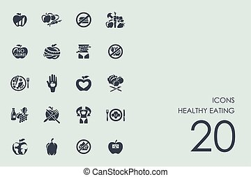 Set of healthy eating icons - healthy eating vector set of...