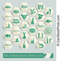 Set of Barcelona icons - Set of Barcelona flat icons for Web...