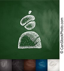 painter icon Hand drawn vector illustration Chalkboard...