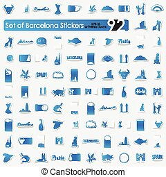 Set of Barcelona stickers - Barcelona vector sticker icons...