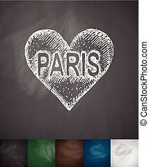 Paris in heart icon Hand drawn vector illustration...