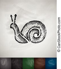 cochlea icon Hand drawn vector illustration Chalkboard...