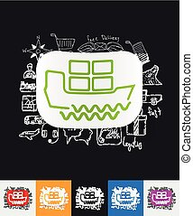 delivery paper sticker with hand drawn elements - hand drawn...
