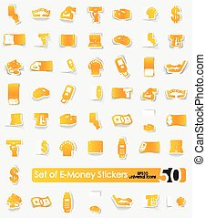 Set of e-money stickers - e-money vector sticker icons with...