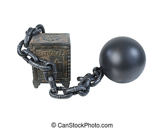 Vintage Safe Secured by Ball and Chain