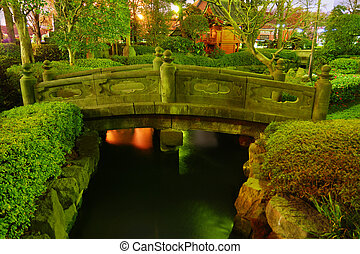 japanese garden by night - Japanese garden by night with...