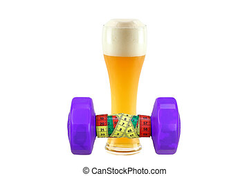 Dumbbell with measuring tape with glass of cold bavarian...
