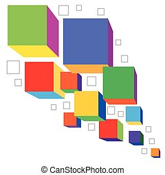 Colorful cubes - Colored abstract cubes, bisiness or...