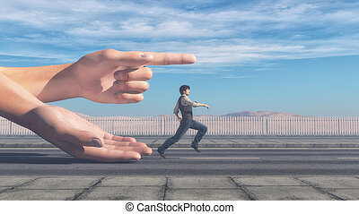 Man running in the direction