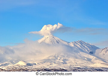 Volcanic landscape of Kamchatka: winter view of Volcano.