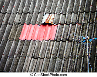 red zinc on old roof - old roof repairing by red roof color...